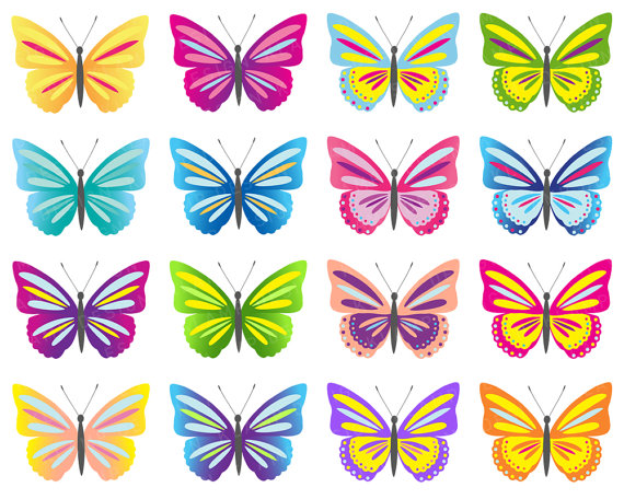 Digital butterflies clipart colorful. Butterfly clip art printable vector free stock