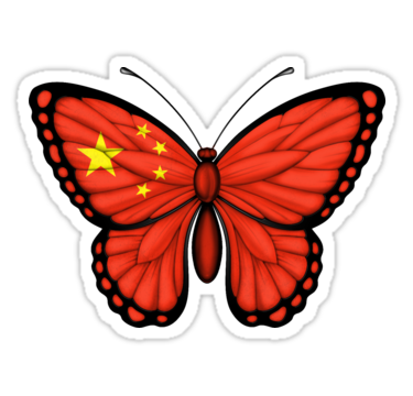 Butterfly clip art small butterfly. Chinese flag stickers by