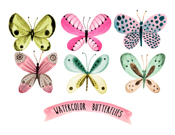 Butterfly clip art spring. Clipart wreath watercolor floral