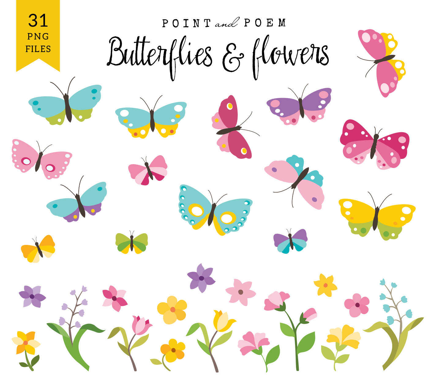Butterfly clip art spring. Flowers commercial