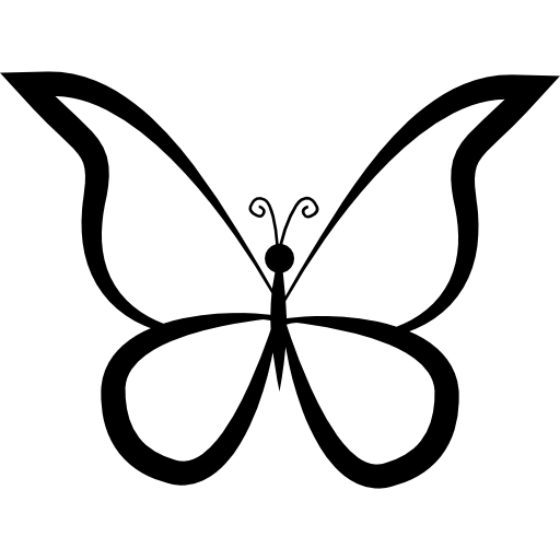 Drawing spring butterfly. Outline design from top