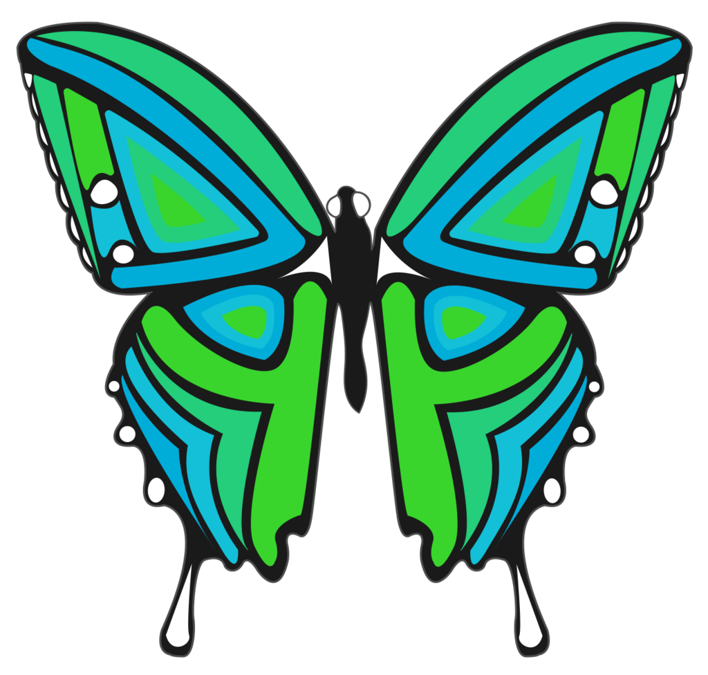 Transparent moth blue green. And butterfly sticker ivy