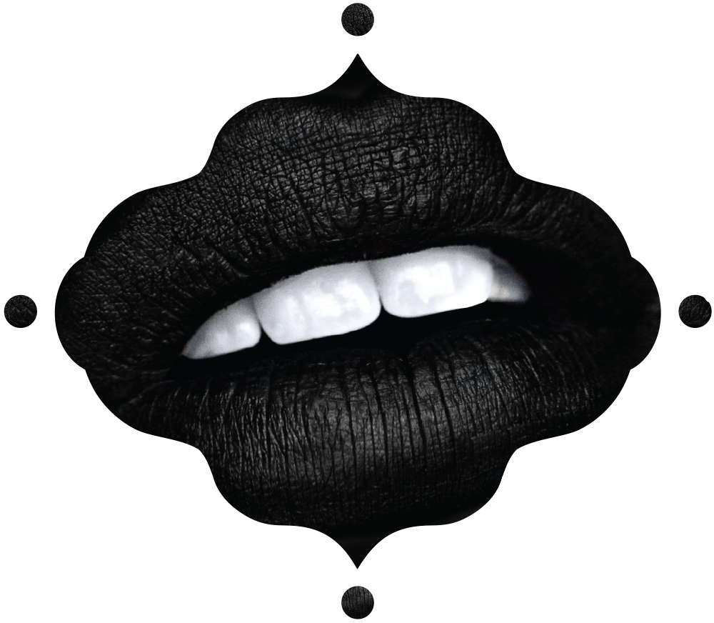 Butthole drawing lip. Gothic makeup sleepwalker black