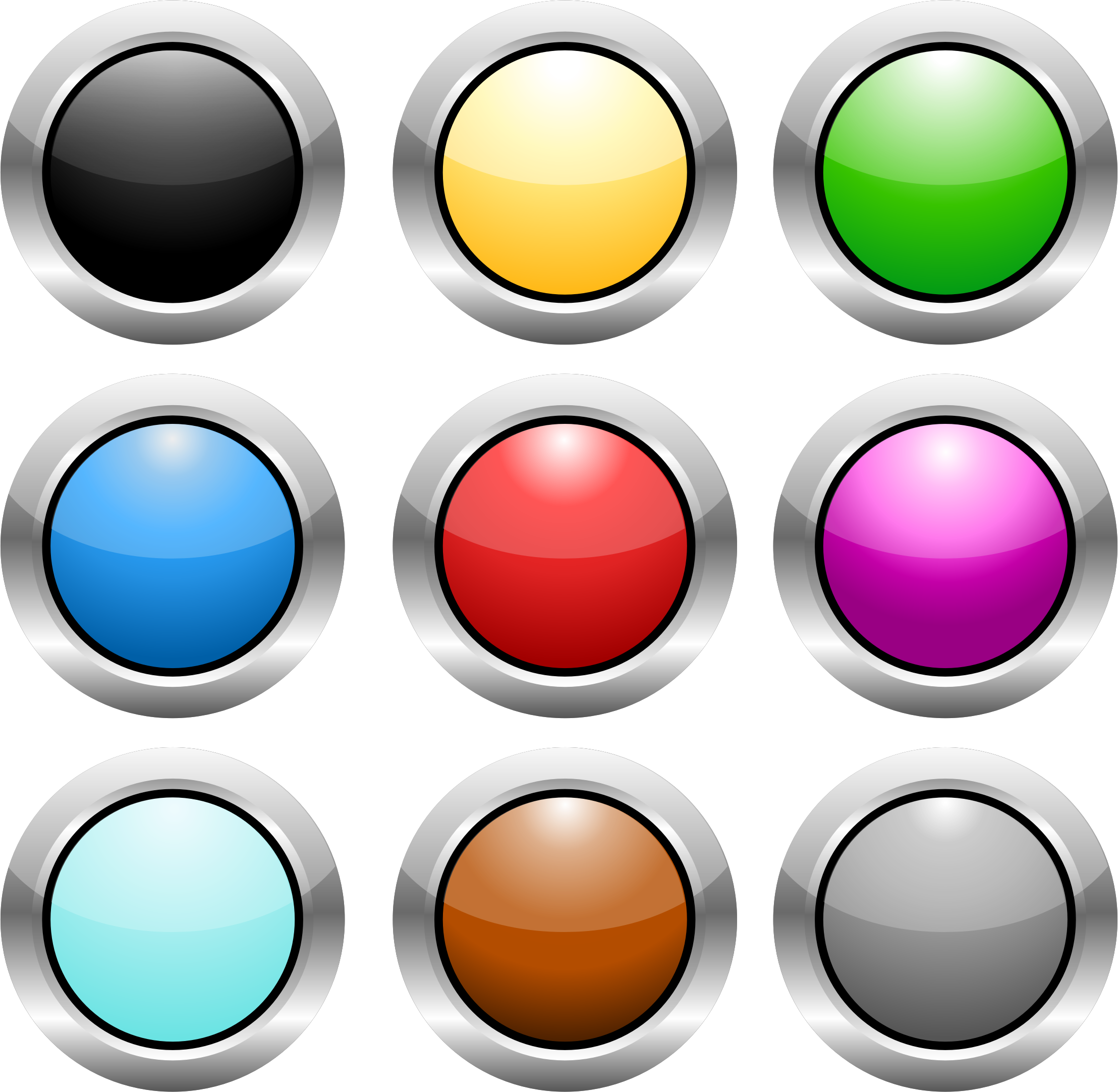 Buttons png. Circle steel icons free