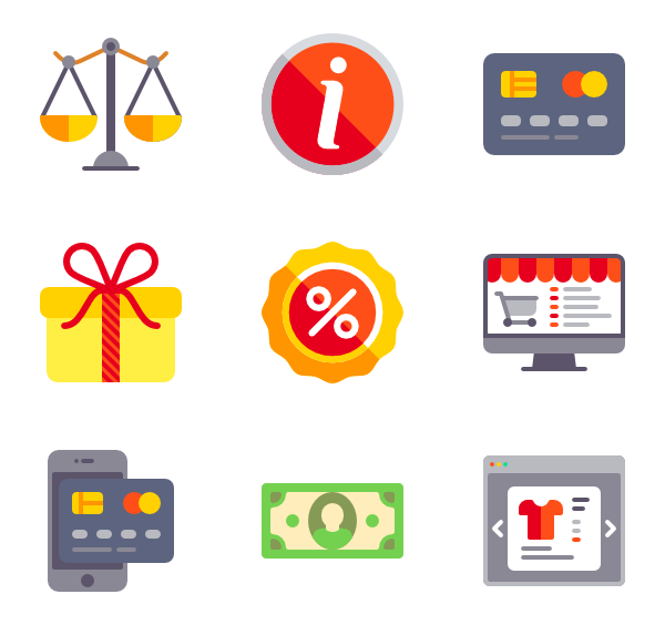 Shop icons free ecommerce. Up vector goods banner library