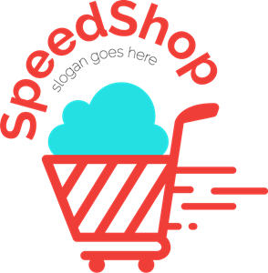 Trolley vector red. Shopping logo eps free