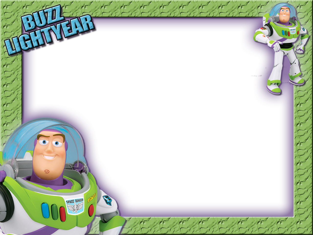 Buzz transparent black background. Kids frame with lightyear