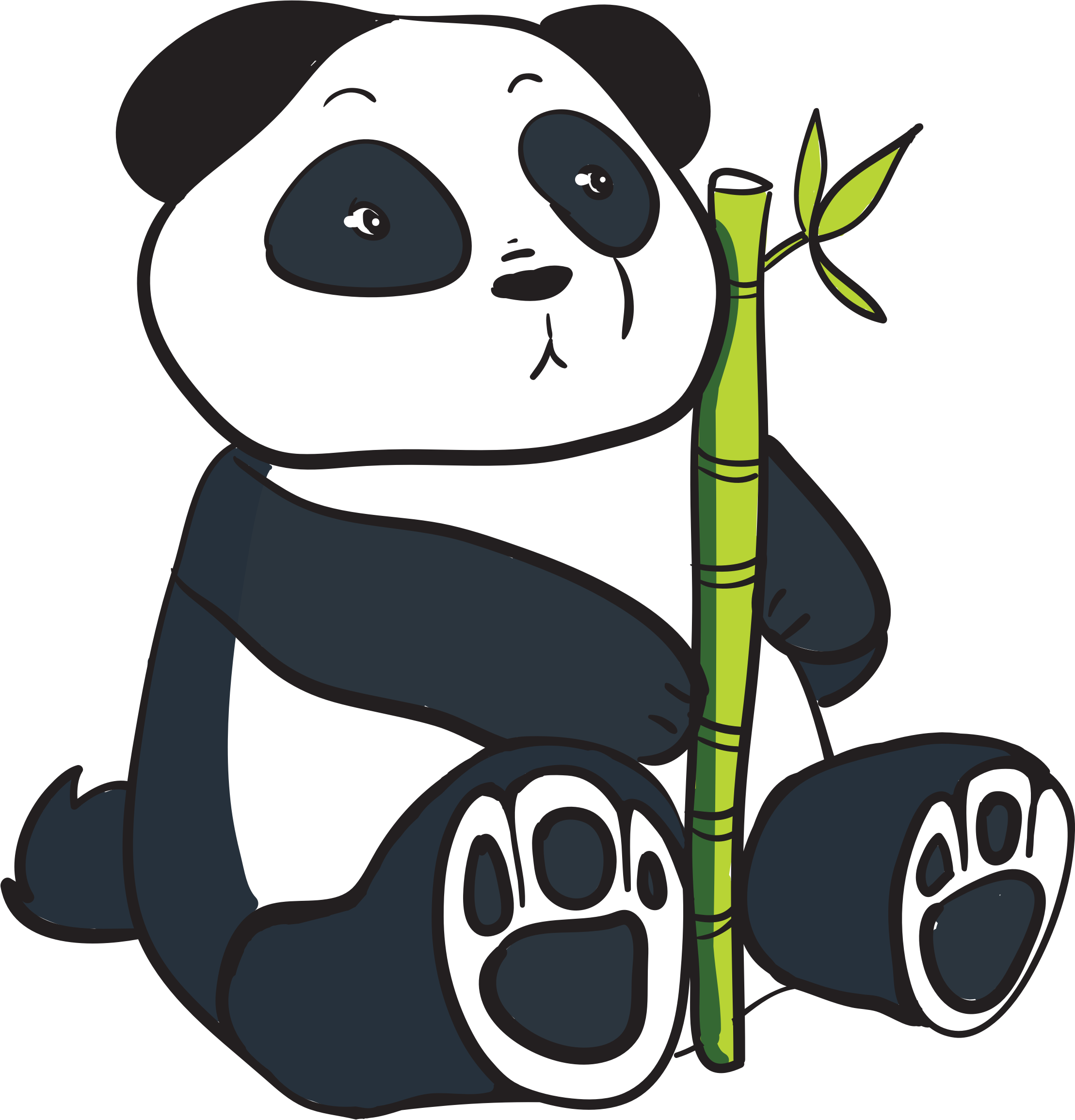 Panda .png. Clipart with bamboo stalk