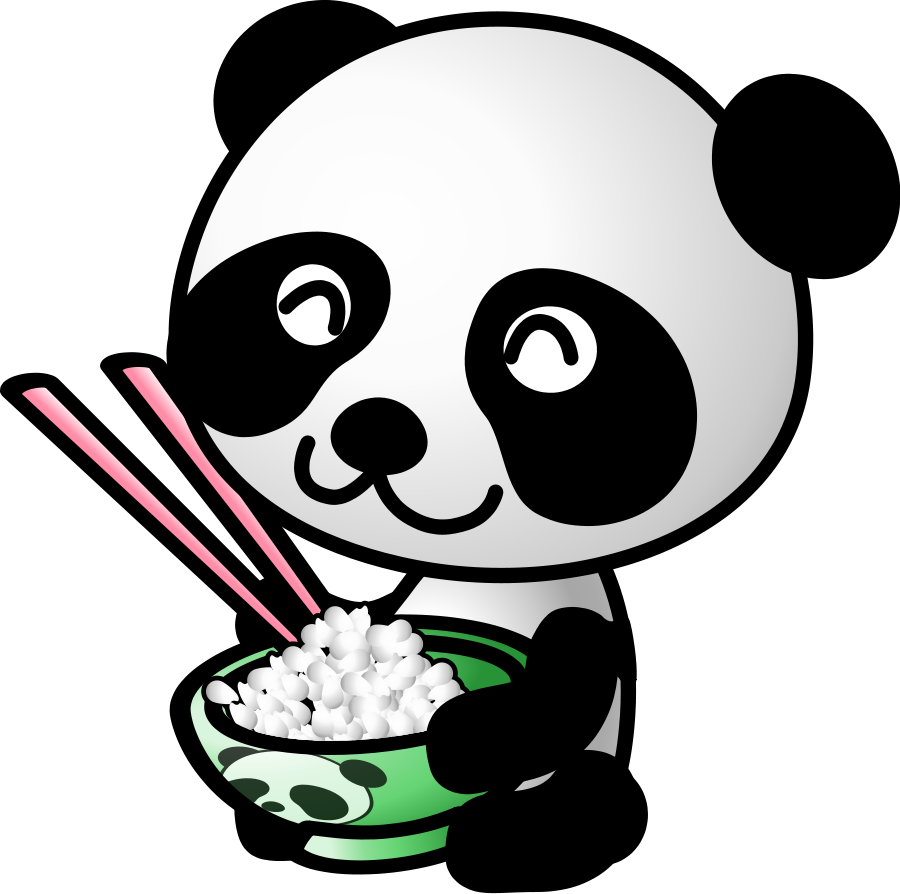 Panda face black and. Chinese clipart animal chinese png library stock