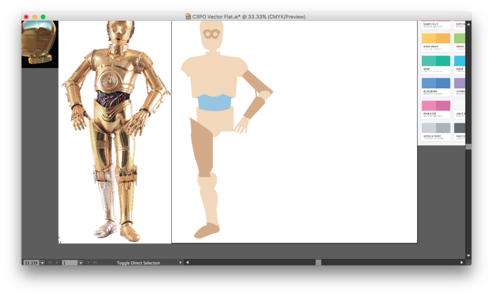 C3po vector drawing. Star wars creating c