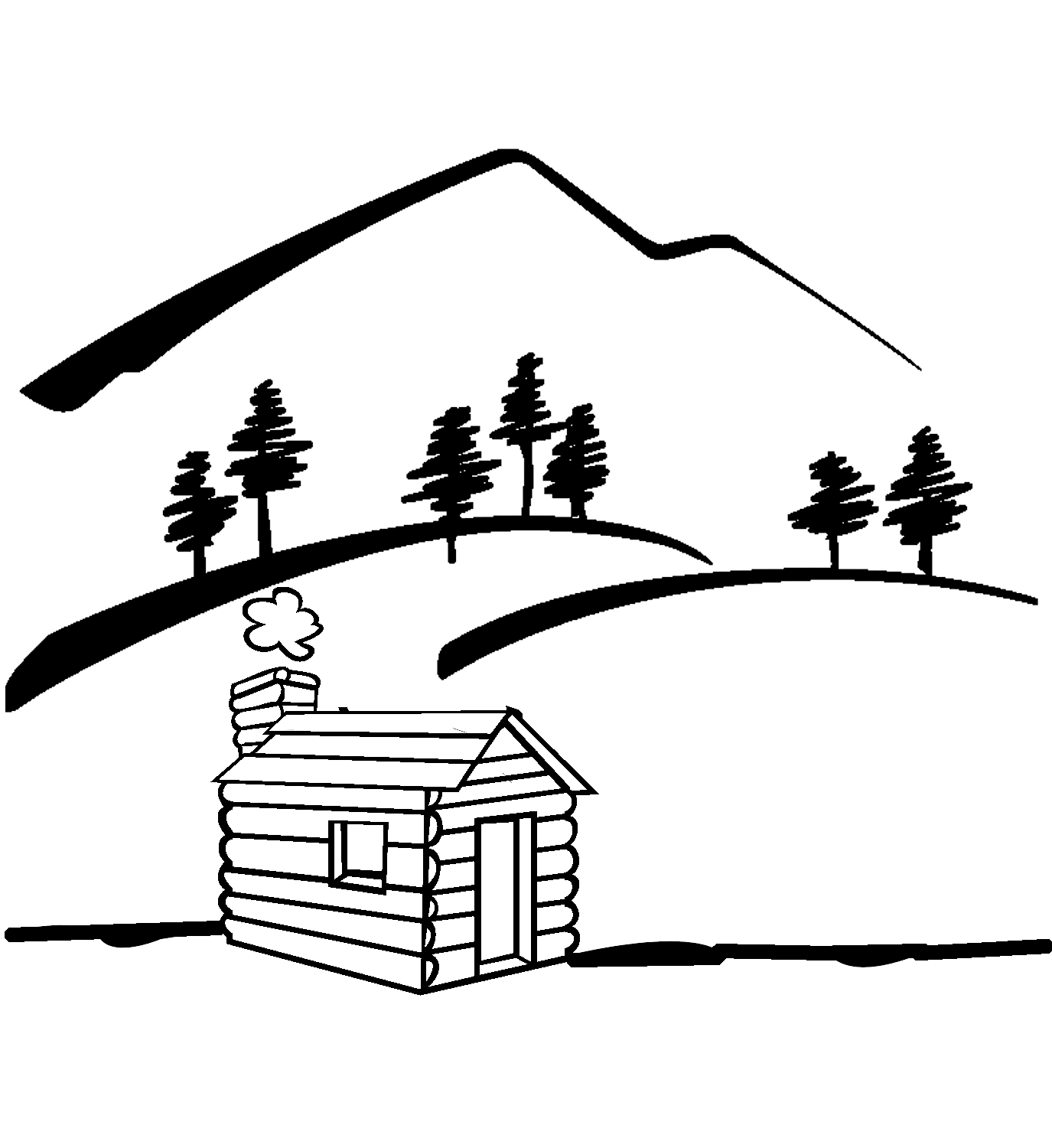 Cabin clipart easy draw. In the woods drawing