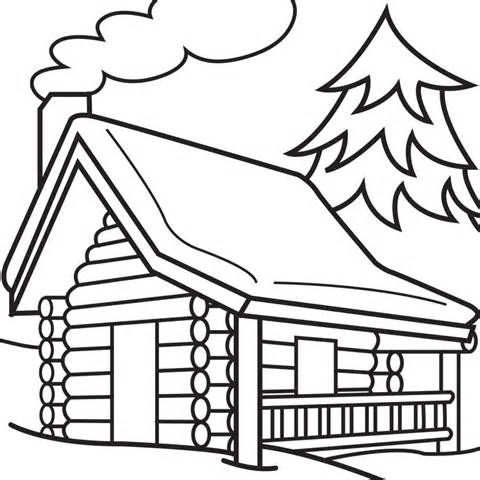 Cabin clipart easy draw. Log woods sketch templates