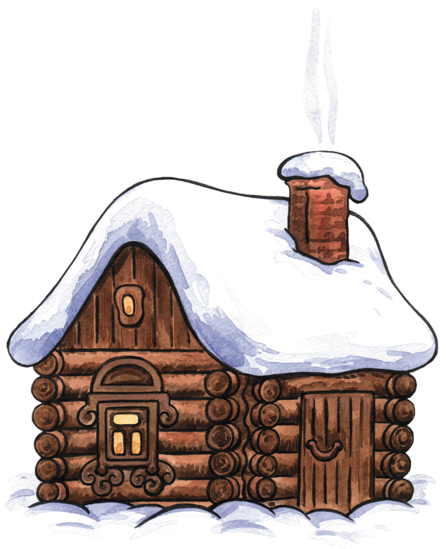 Cottage vector log house. Winter cabin clip art