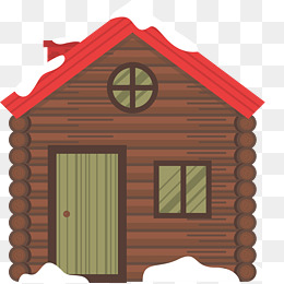 Red huts in winter. Cabin clipart snow roof vector library library