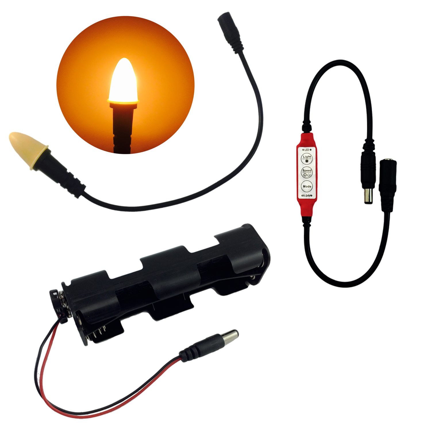 Cable transparent lighting. Candle flame effects light