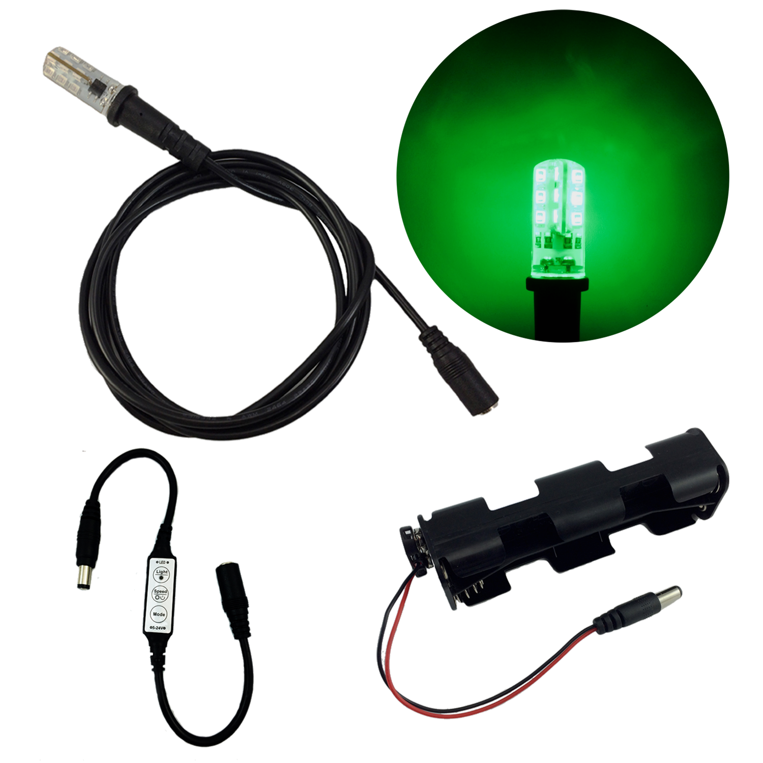 Cable transparent lighting. Special effects green led