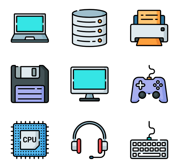 Cable vector computer. Icons free components
