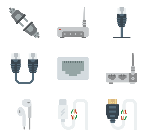 Cable vector utp. Icons free connectors cables