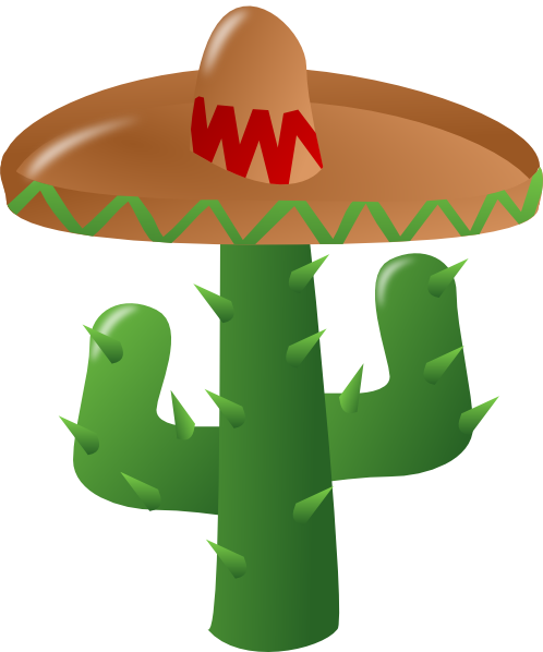 Cactus png clipart. Wearing a sombrero clip