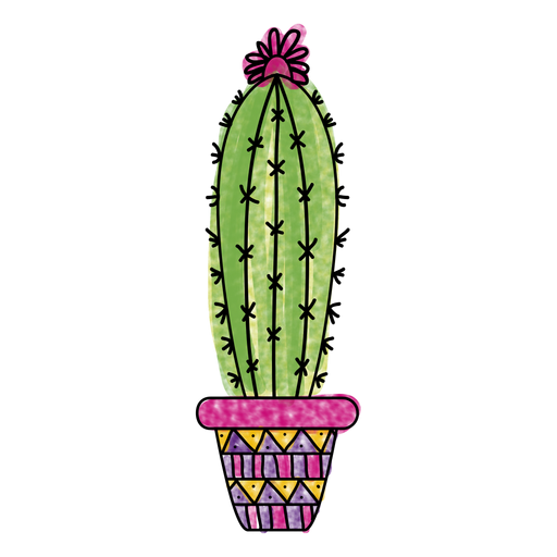 Cactus vector png. Watercolor pot ornamented silhouette