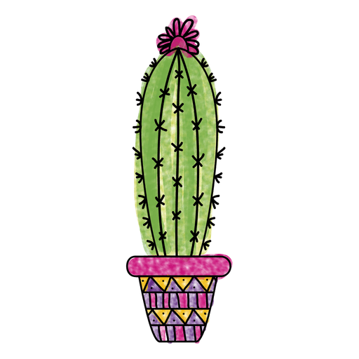Watercolor pot ornamented silhouette. Cactus png graphic black and white