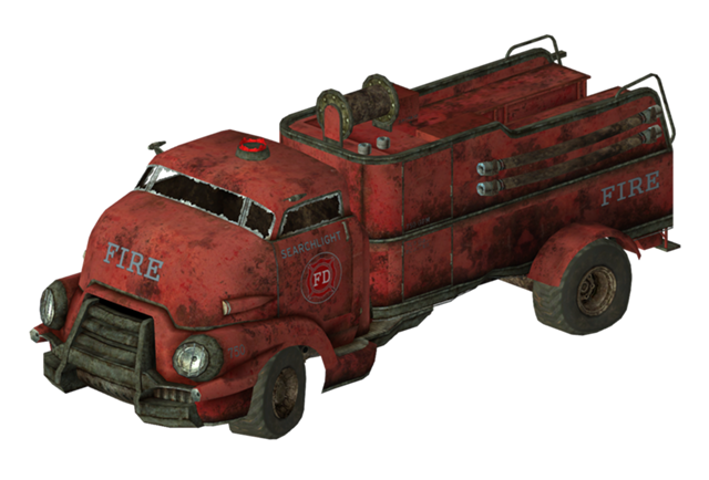 Cadillac drawing fire engine. Fallout new vegas truck