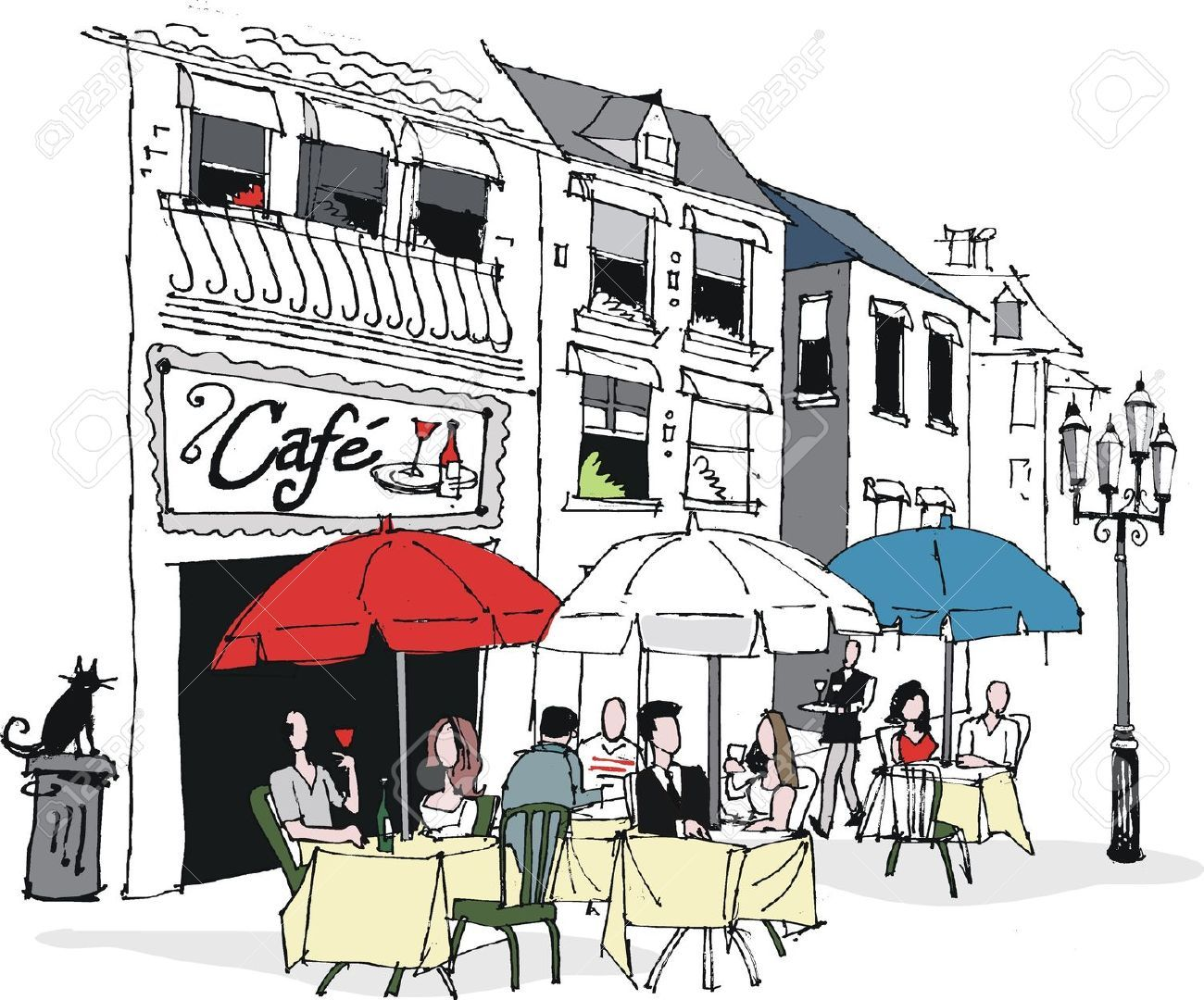 Cafe clipart drawing france. Vector illustration of french