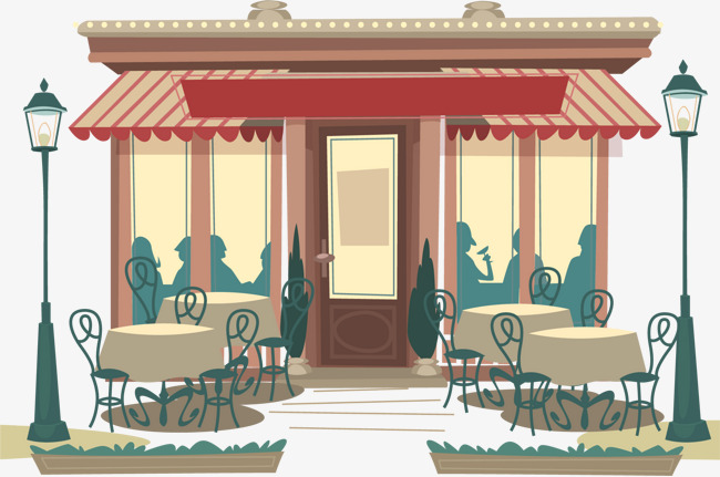 Cafe clipart outdoor cafe. Vector hand painted handpainted
