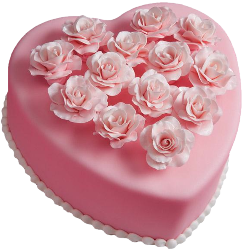 Cake clipart heart. Pink with roses gallery