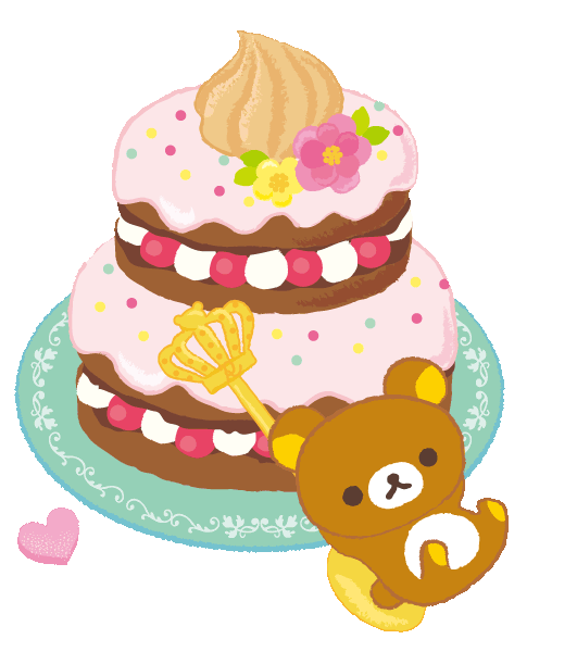 Cake clipart heart. Cute colorful rilakkuma flowers