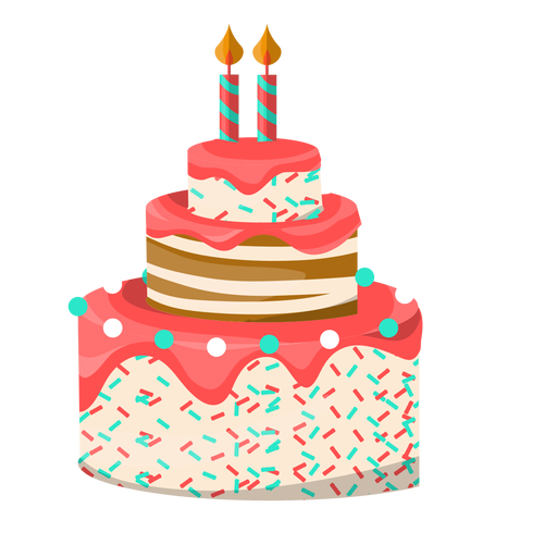 Cake vector png. Two candles birthday illustration