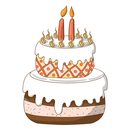 Cake with candles png. Two birthday cartoon transparent