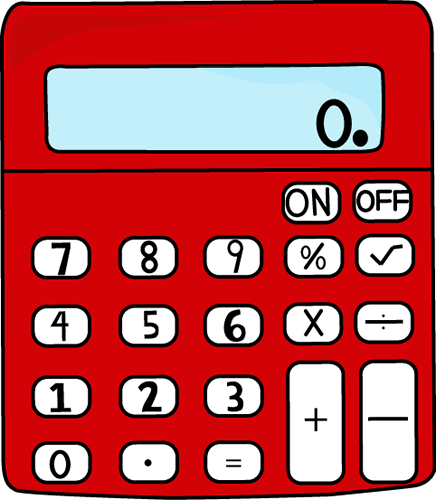 Calculator clipart school. Red clip art vector