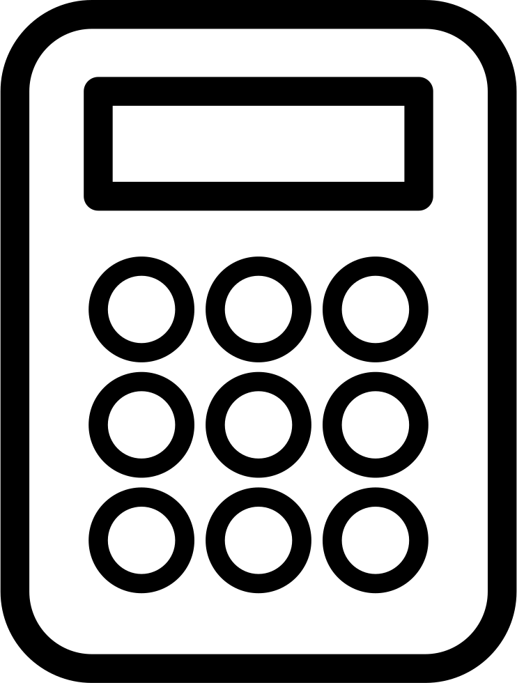 Calculator png icon. Outline variant svg free