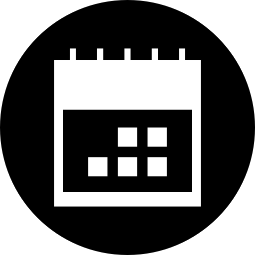 Calendar icon white png. In a circle interface