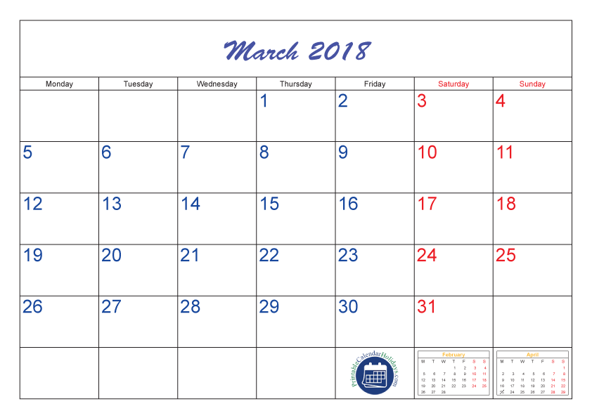 Calender vector march 2018 calendar. Daily of holidays goal