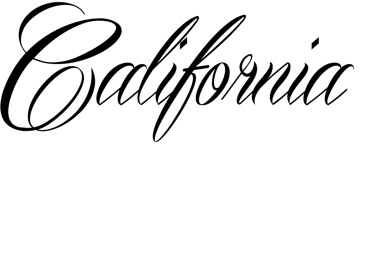 Calif transparent cursive. California tattoo in mardian