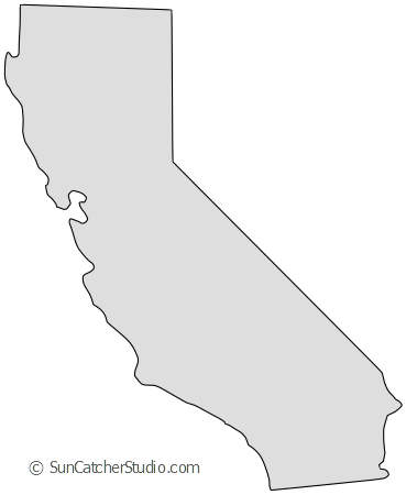 Vector california stencil. Map outline printable state