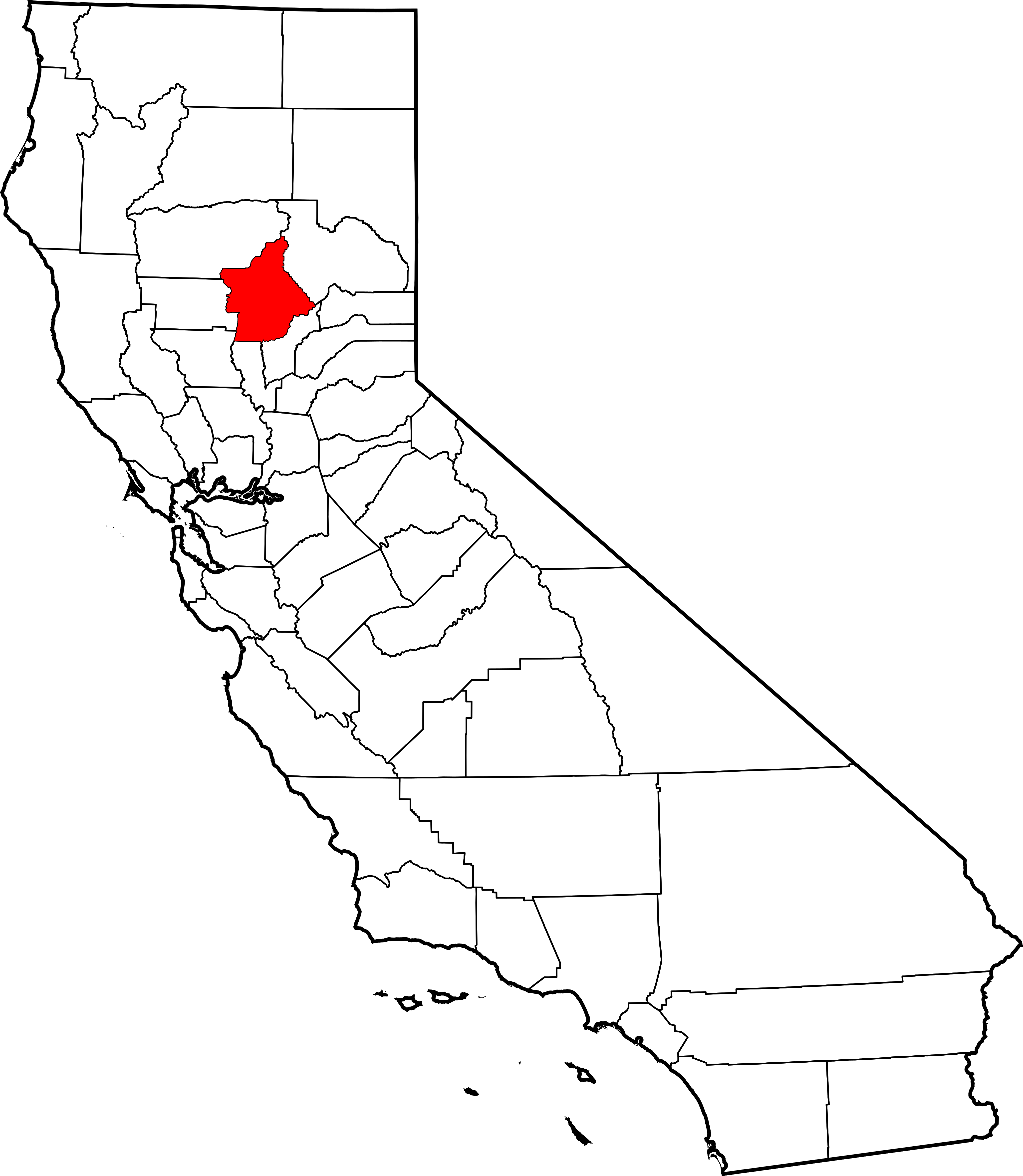 California map outline png. File of highlighting butte
