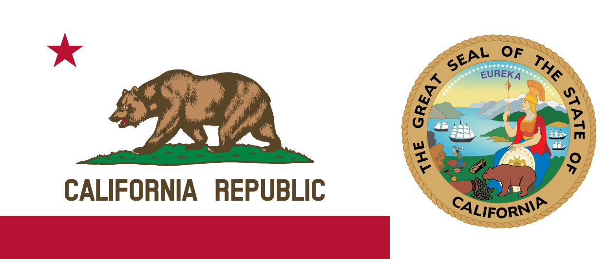 Transparent calif flag. Image the and seal