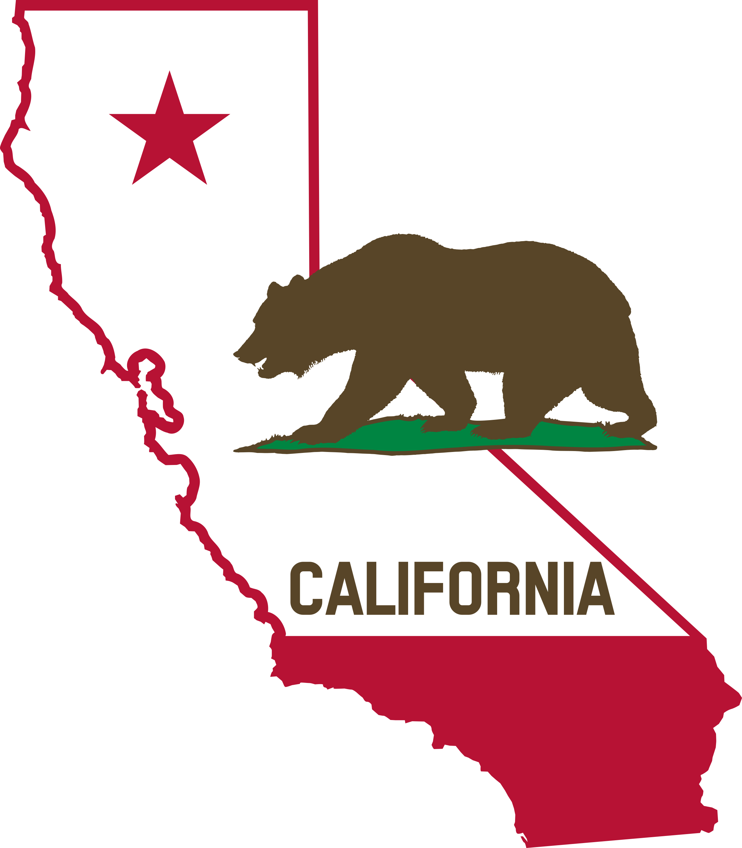 California .png. Outline and flag solid