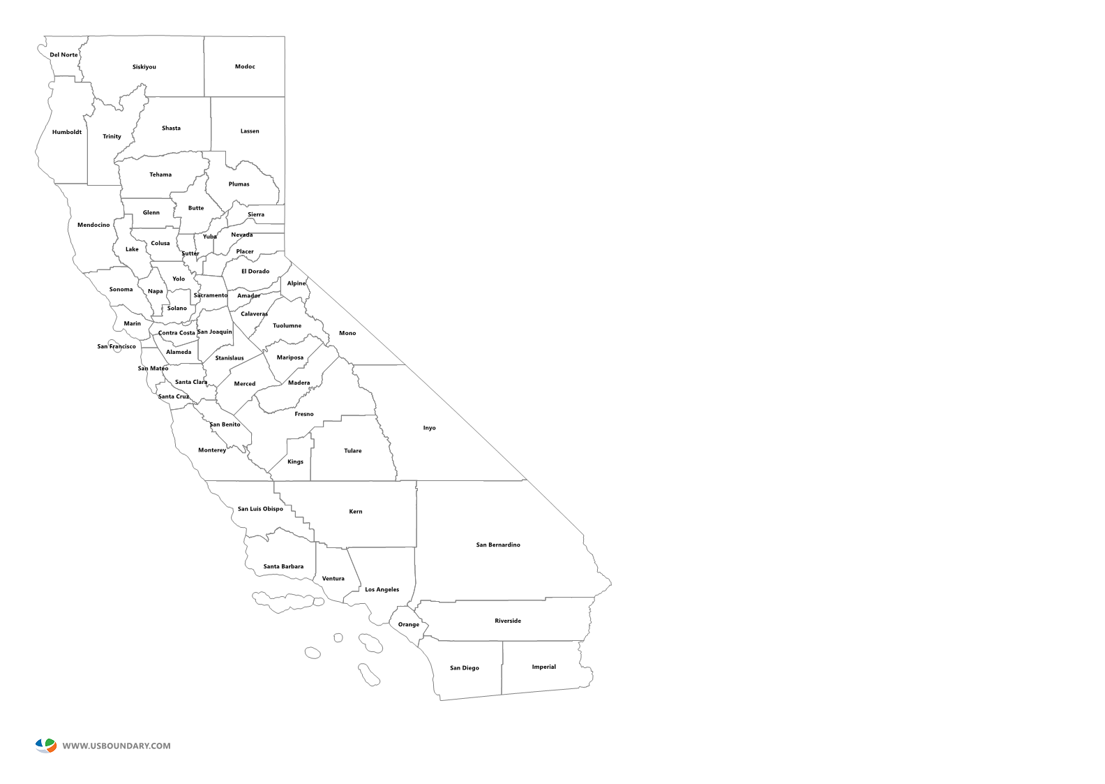 California state outline png. Counties maps download map