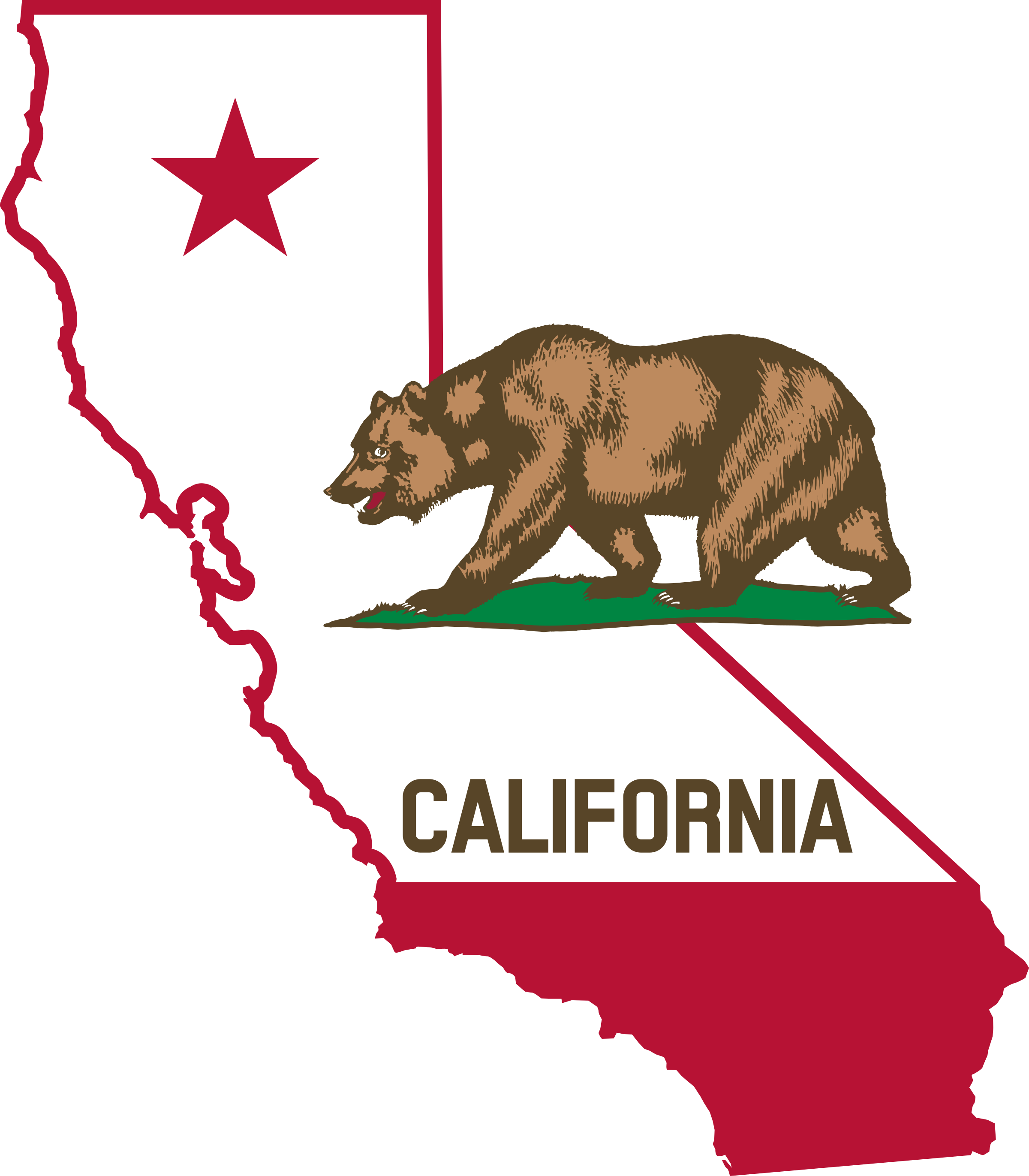 California svg clip art. Outline and flag icons