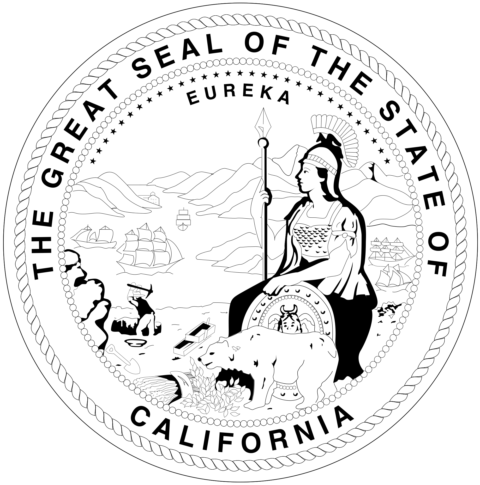 California svg black and white. File seal of b