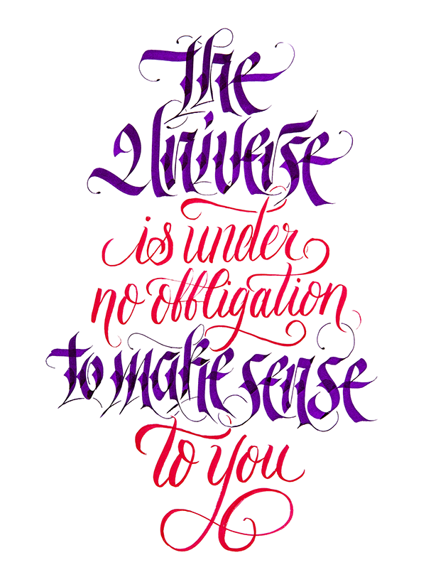 Calligraphy quotes png. On behance the universe