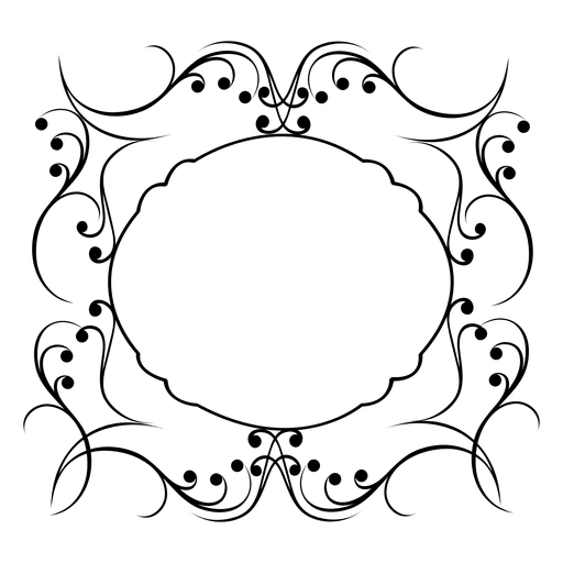 Calligraphy swirls png. Calligraphic round frame transparent