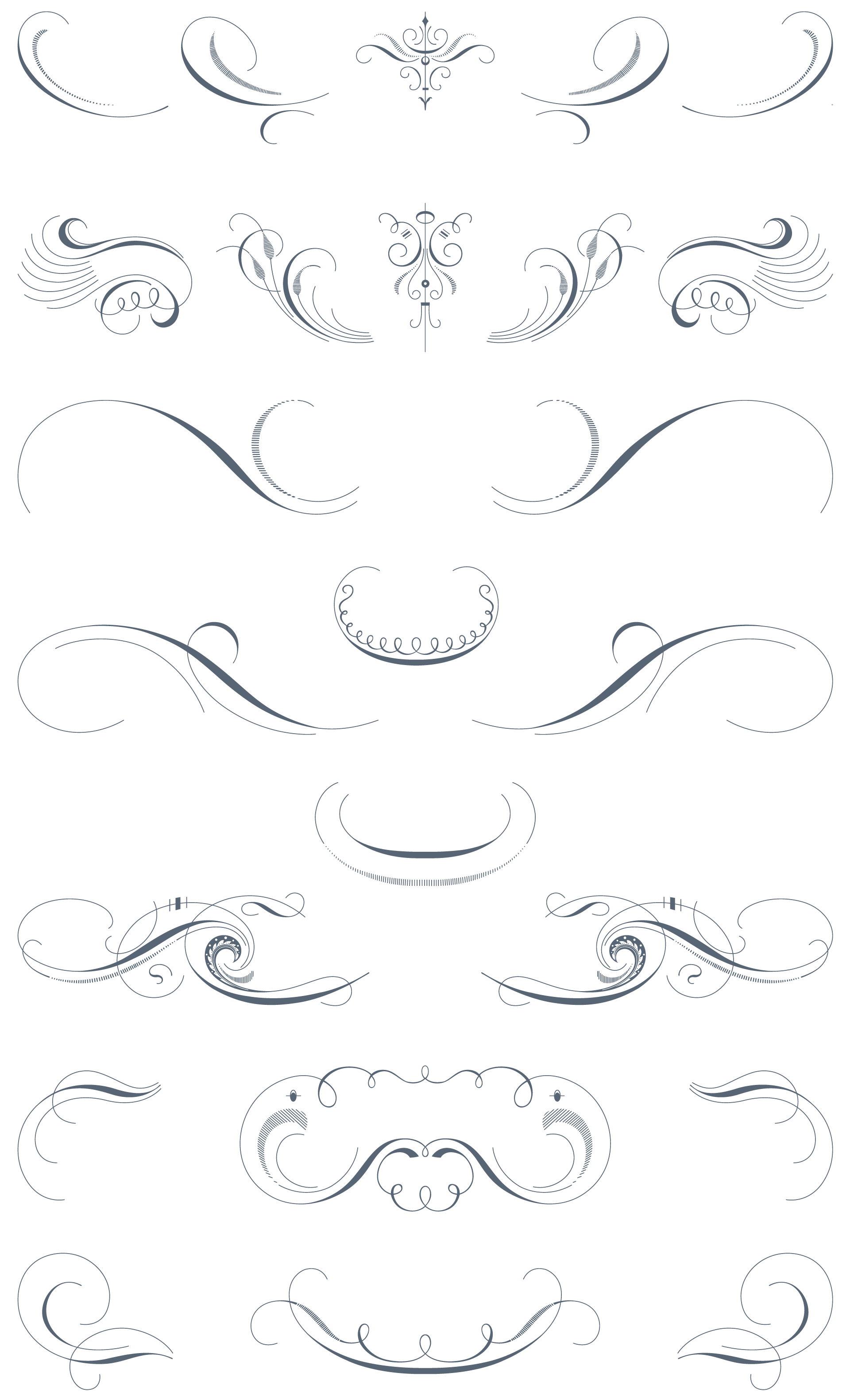 Luxurious pack ornaments decorative. Calligraphy vector flourishes png black and white stock