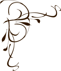 Calligraphy vector swirl. Left brown floral clip