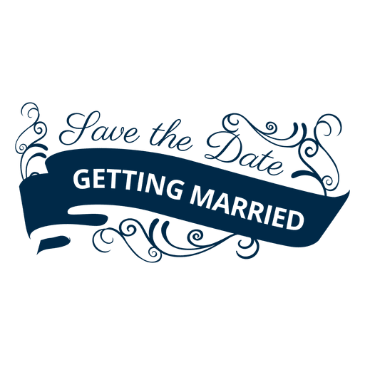 Calligraphy vector wedding. Getting married badge transparent