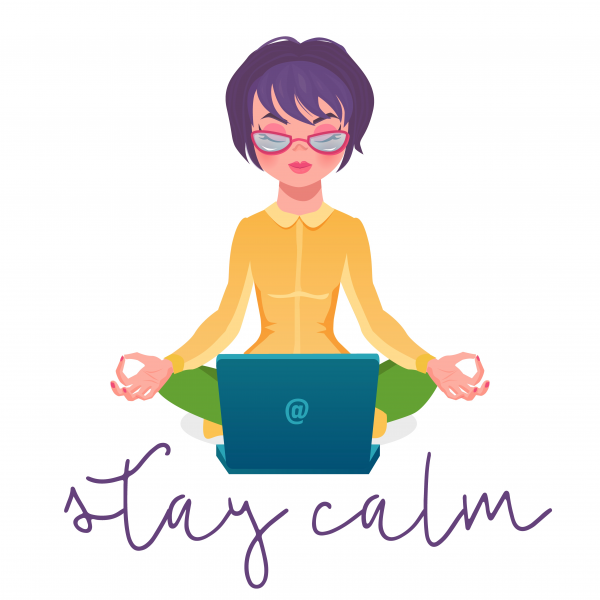 Calm woman relaxing meditating with laptop. No stress free